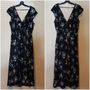 Black Plus Size Floral Print Maxi Dress 2XL